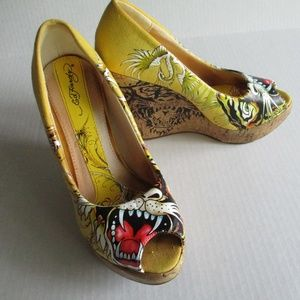 Ed Hardy open toe wedges/shoes SIZE 6